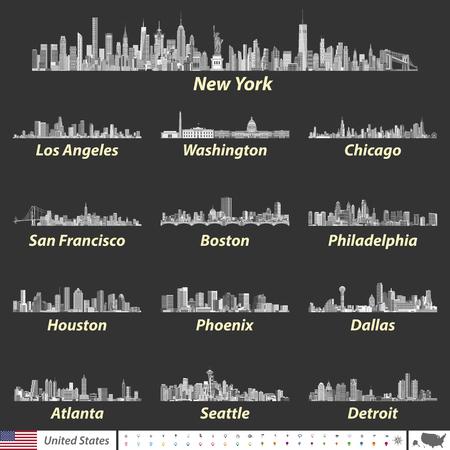最も大きい米国都市のスカイラインのベクトル イラスト  イラスト・ベクター素材