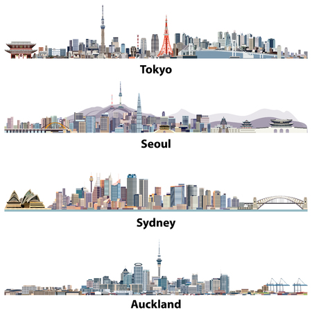 Abstract vector illustrations of Tokyo, Seoul, Sydney and Auckland skylines Иллюстрация