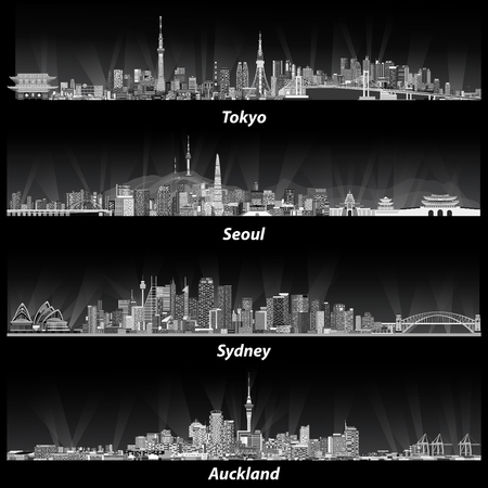Abstract  illustrations of tokyo, seoul, sydney and auckland skylines. Иллюстрация