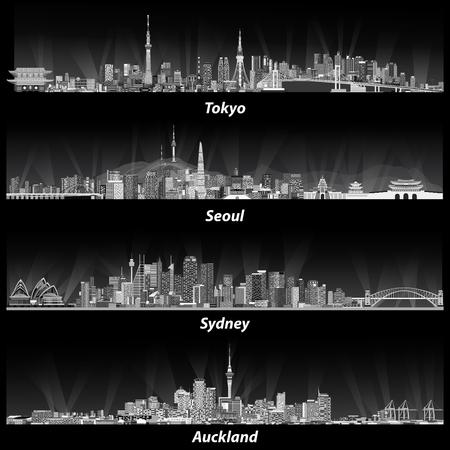 Abstracte illustraties van tokyo, Seoel, Sydney en Auckland skylines. Stock Illustratie