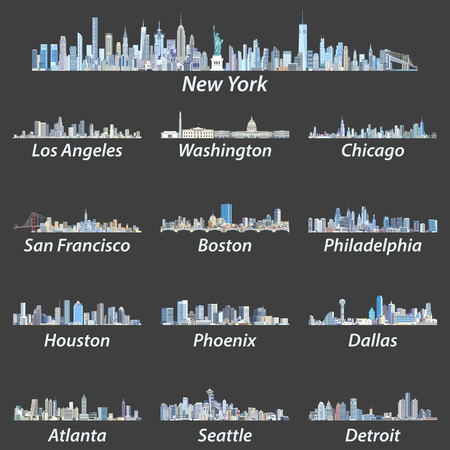 United States city skylines. Иллюстрация