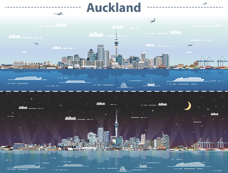 Vector illustration of Auckland at day and night Stock Illustratie