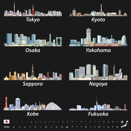 Vector illustration of japanese city skylines on black background with location, navigation and travel icons; Flag and map of Japan