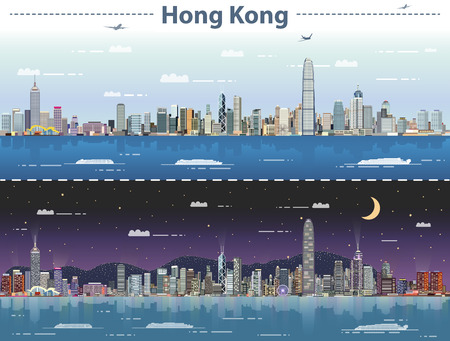 Hong Kong day and night vector illustration