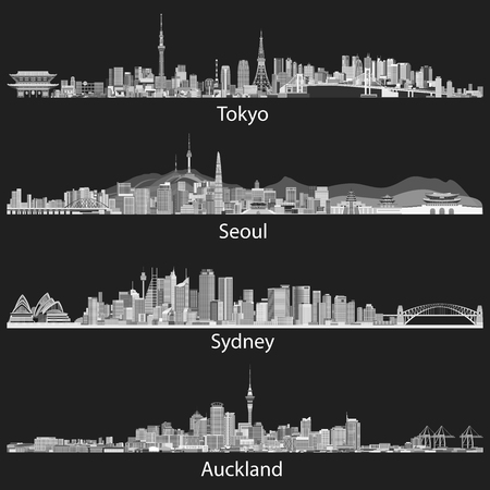 Abstract vector illustrations of Tokyo, Seoul, Sydney and Auckland skylines Ilustração