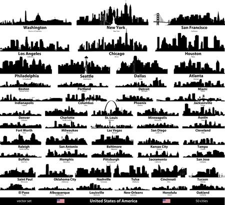 USA skylines illustration.