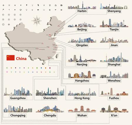中国詳細な地図情報。  イラスト・ベクター素材