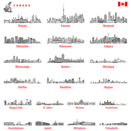 Canada largest cities and all states capitals skylines