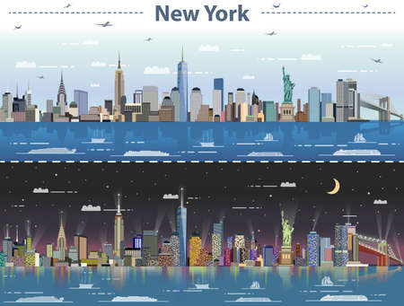 Vector abstract illustration of New York at night and night