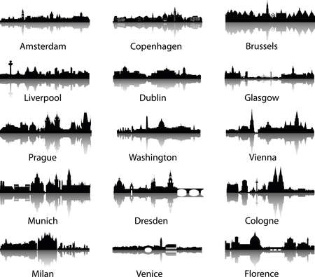 skylines: Panoramic vector city skylines Illustration