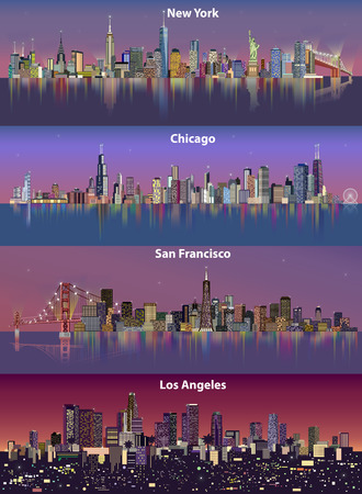 Abstract illustration of city skylines.