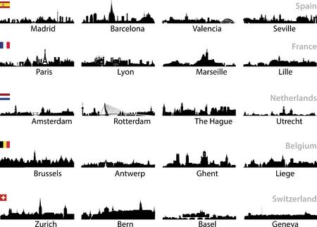 Europese stad illustratie.
