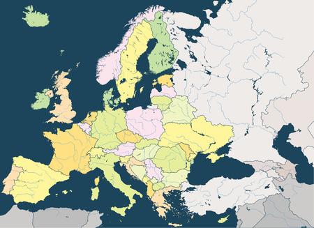 Europa hoge gedetailleerde vector kaart met belangrijkste Europese rivieren Stock Illustratie
