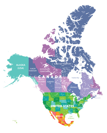 Colored map of USA, Canada and Mexico
