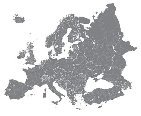 Europa gedetailleerde vector politieke kaart