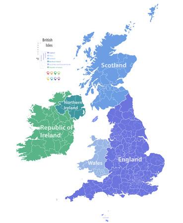 イギリス諸島のベクトル地図