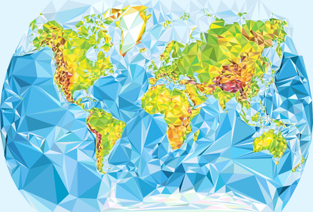 Vector physical world map in polygonal style Illustration