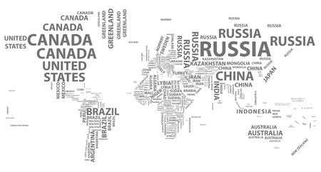 タイポグラフィの国名とベクトル世界地図