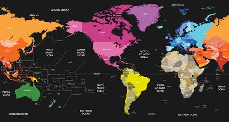 World political map centered by America Иллюстрация