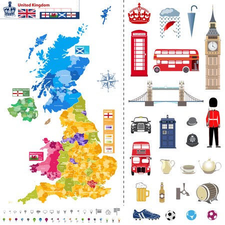 london tower bridge: United Kingdom regions map with administrative divisions and titles each of them. Flags of the United Kingdom, Wales, Scotland and Northern Ireland. Location icons and national theme symbols pictographs
