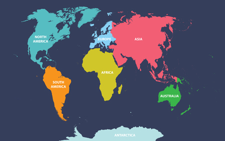 Political map of the world with all continents Ilustrace