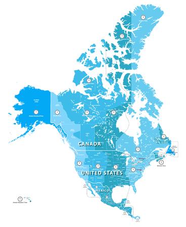 高詳細な北アメリカのタイムゾーン地図。戸建とラベル付きの層で区切られたすべての要素