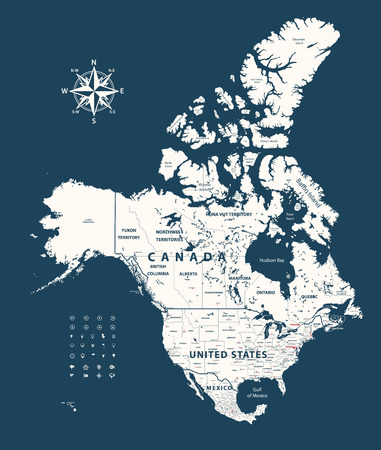 Canada, United States and Mexico vector map with states borders on dark blue background Иллюстрация