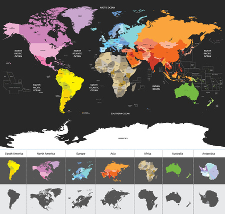 political map of the world Stock fotó - 84183007