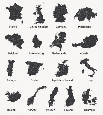 vector conjunto de mapas europeos con fuentes surrealistas