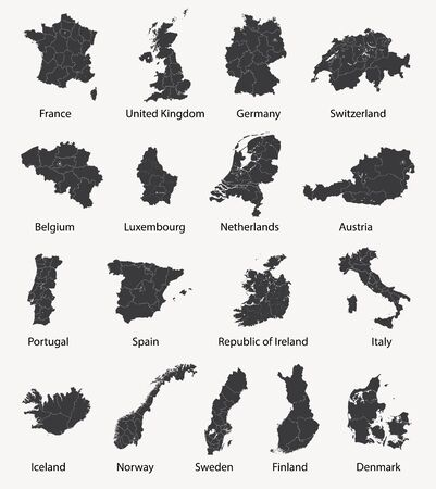 Vector set of european maps with regional borders