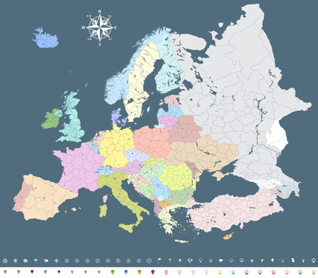 Europe vector high-definition political map Illustration