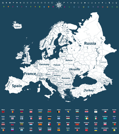 Europe vector high-definition political map  イラスト・ベクター素材