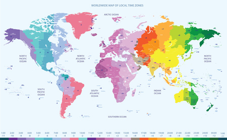 Worldwide map of local time zones Reklamní fotografie - 84183034
