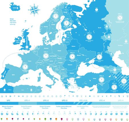 Europe time zones high detailed map with location and clock icons.