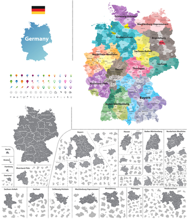 Federal states of Germany map with administrative districts and subdivisions