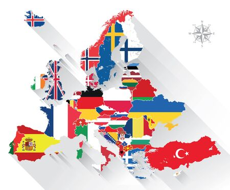 Europe map combined with country flags. All elements separated in detachable layers. Vector Illustration
