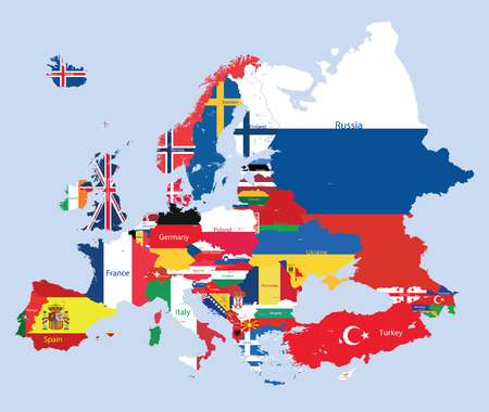 Vector European map with flags