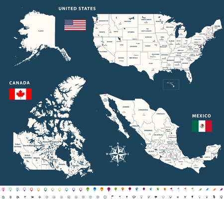 Maps of Canada, United States and Mexico with flags and location  navigation icons. All layers detached and labeled.
