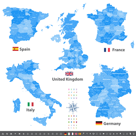 Vector maps of United Kingdom, Italy, Germany, France and Spain with administrative divisions.