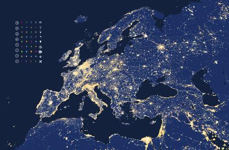 거리에서 유럽 도시의 불빛의지도