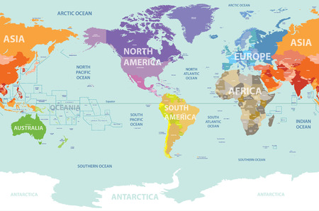 World political map colored by continents and centered by America 일러스트