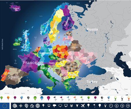 Kaart met coutriesnamen en regiosgrenzen