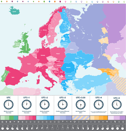 Europe time zones map