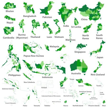 Cartes des pays d'Asie, d'Australie et d'Océanie