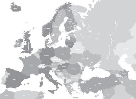 Europa mapa político detallado alto. Todos los elementos desmontables y etiquetados. Vector