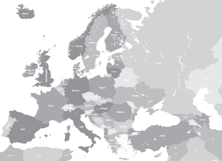 Europe high detailed political map. All elements detachable and labeled. Vector