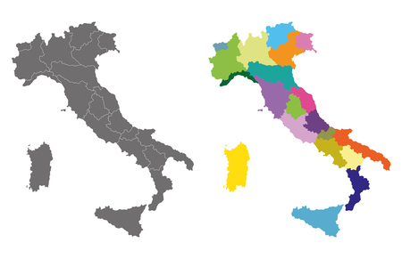 Silhouette and colored map of Italy regions