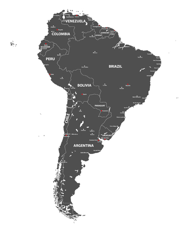 Vector high detailed map of South America. All layers detached and labeled. Illustration