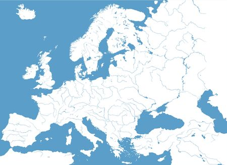 Hoog gedetailleerde kaart van Europa Stock Illustratie