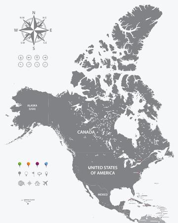 북미 높은 상세한 정치지도. 모든 레이어는 분리되고 라벨이 붙어 있습니다. 일러스트